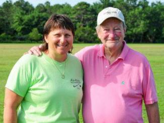 Camp director Frannie Slabonik, left, poses with former director and owner Richard Miller. DAN COOK PHOTO